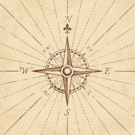 western script: An high detail illustration of an antique compass rose on a grunge paper, complete with navigation lines.