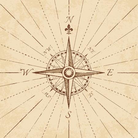 bussola: Un dettaglio illustrazione di un antico rosa dei venti su una carta grunge, con linee di navigazione. Vettoriali