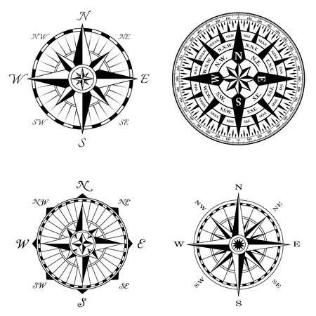 compass vector: A set of four high detail antique windroses.