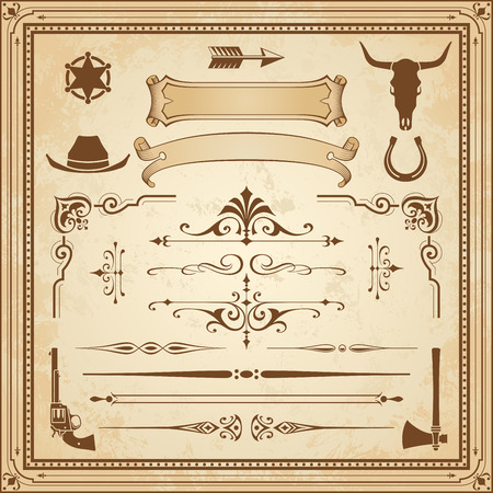 A collection of Wild West ornament, with frames, rulers, angle ornaments and cliparts. Vectores