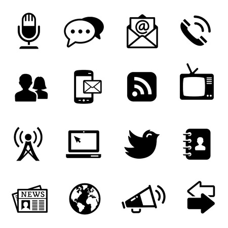 communications tower: A complete set of 16 communications computer icons.