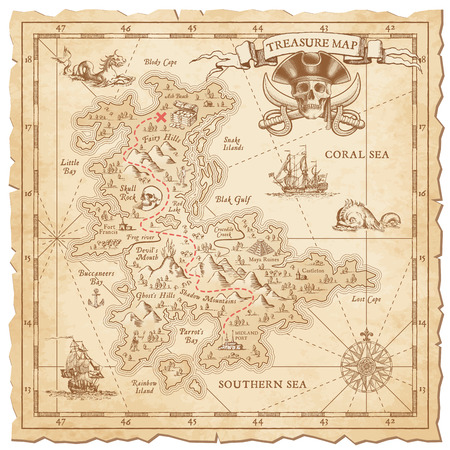 """pirata: Un detalle Hola, grunge vector """"mapa del tesoro"""" con un mont�n de decoraci�n de mano dibujadas con detalles incre�bles."""