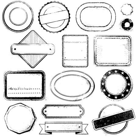 旅行、メール、プロモーションなどのグラフィック デザインに適した汎用と空のスタンプの高詳細セット  イラスト・ベクター素材