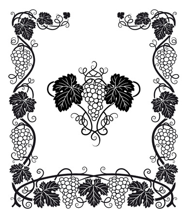 vines: A beautiful Frame and center ornament with Grapes, vines and grape leaves