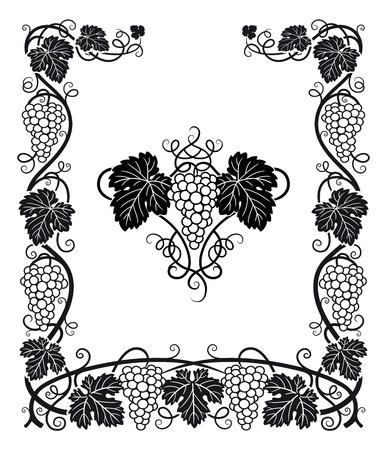 hojas parra: Un hermoso marco y el centro de ornamento con las uvas, las vides y hojas de parra