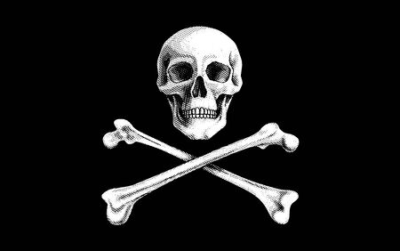 digitally generated image: Vector illustration of a Pirate Flag with Skull and Crossbones