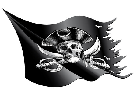 drapeau pirate: Vector illustration d'un drapeau de pirate agitant et d�chir� avec le cr�ne, os crois�s et un chapeau de pirate Illustration