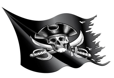 drapeau pirate: Vector illustration d'un drapeau de pirate agitant et déchiré avec le crâne, os croisés et un chapeau de pirate Illustration