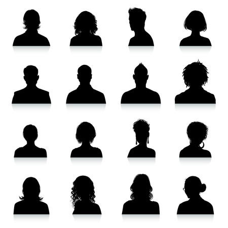 head icon: A collection of 16 high detail avatars silhouettes. Illustration