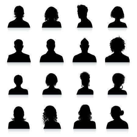 En samling av 16 hög detalj avatarer silhuetter. Illustration