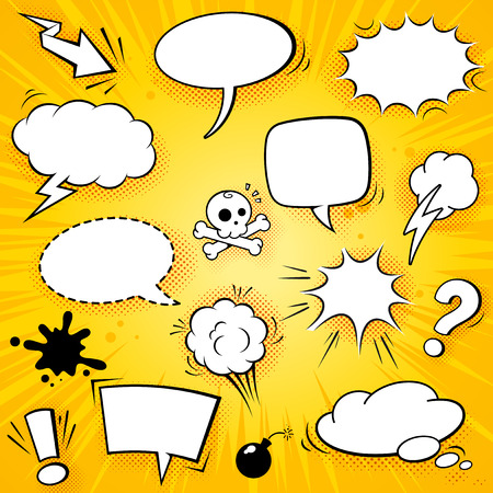 A collection of funny baloons for comic speeches and also sound effects vector illustrations