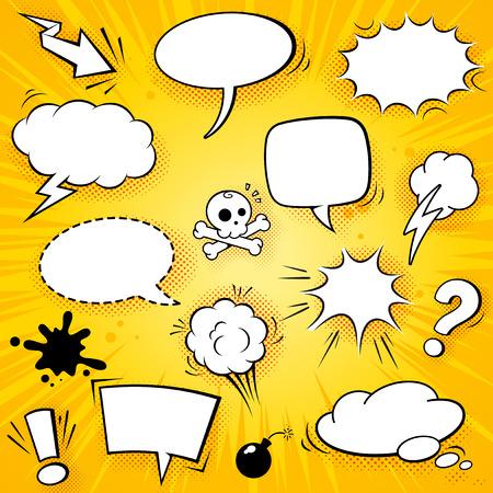 cómico: Una colección de globos divertidos para los discursos de historietas y también de efectos de sonido ilustraciones vectoriales