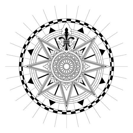compass: High detail antique Compass rose vector illustration. Illustration