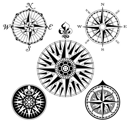 topographic map: A set of five high detail antique windroses vector Illustrations. Illustration