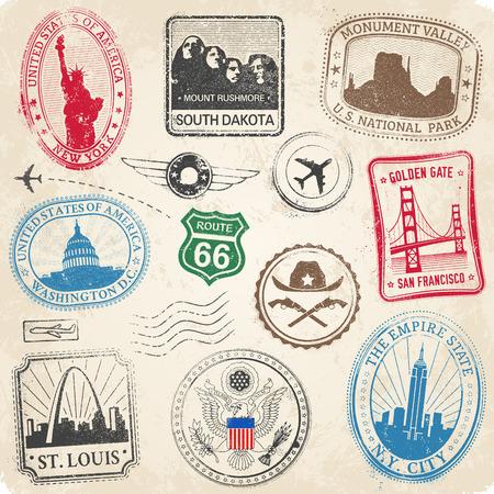 유명한 기념물과 미국 문화의 아이콘의 다양한 우표의 높은 세부 모음 일러스트