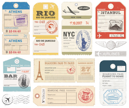 vector images: A set of high detail grunge Passport and Luggage Tags, Tickets and stamps.
