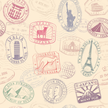 stamp passport: Grunge hi quality vector seamless texture pattern with monuments ad famous landmarks from all over the world