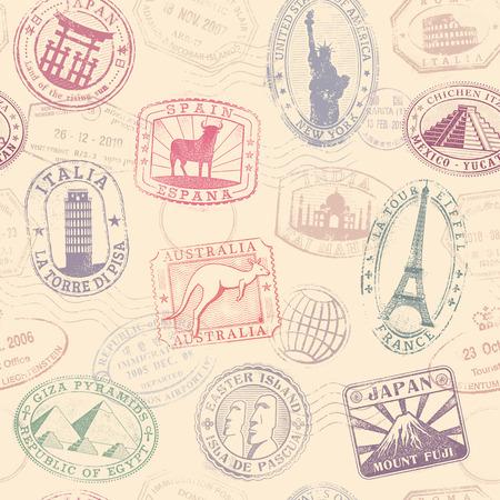 passeport: Vecteur de qualité Grunge salut motif de texture transparente avec des sites célèbres monuments de publicité de partout dans le monde