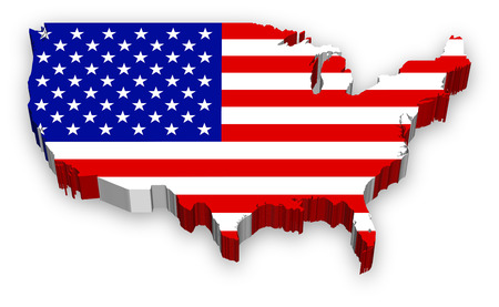 continente americano: Un Vector completa, mapa extruido de los Estados Unidos, muy detallado y coloreado con el tema de la bandera nacional. Foto de archivo