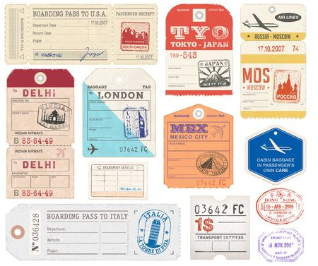 luggage tag: A set of high detail grunge Passport and Luggage Tags, Tickets and stamps.