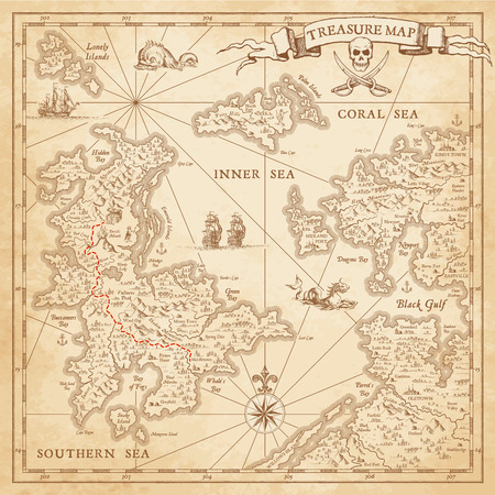 A Hi detail grunge Vector Treasure Map with lots of decoration hand drawn with incredible details Stockfoto