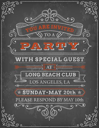 invited: A vector illustration of a chalkboard-style party invitation. The grunge-style vintage template has a black background and white scroll elements at each corner