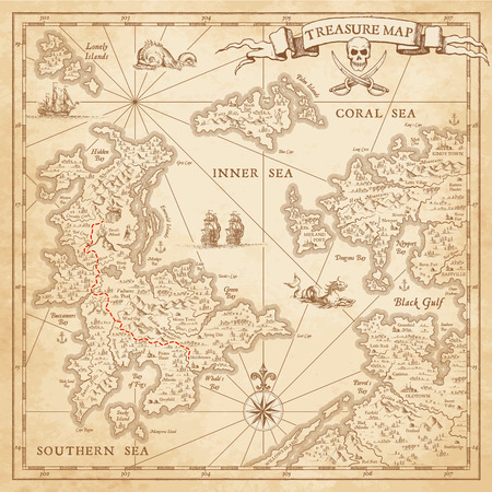 x marks the spot: A Hi detail; grunge Vector Treasure Map with lots of decoration hand drawn with incredible details.