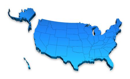 physical geography: HI detail 3D Elevated map of the United states of America.
