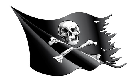 Vector illustration of a waving and torn Pirate Flag with Skull and Crossbones