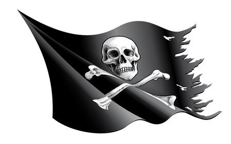 drapeau pirate: Vector illustration d'un drapeau de pirate agitant et déchiré avec Crâne et os croisés