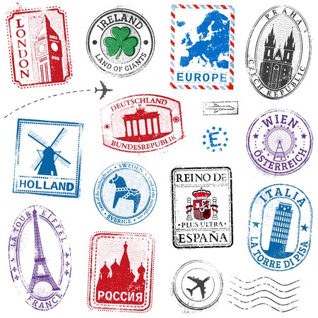 color image: A high detail collection of Travel Stamps concepts, with traditional symbols from all major countries of Europe