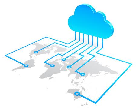 tecnología informatica: Mundial concepto de computación en la nube, la ilustración vectorial de alta calidad.