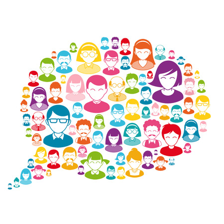 communication cartoon: Composition of Cartoon Avatars placed inside colorful bubbles. Great for communication and social Concepts Illustration