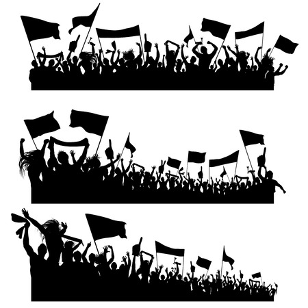 Three design elements composed of cheering sport supporters silhouettes