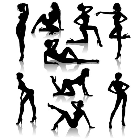 A set of 9 sexy girl vector silhouettes illustrations Illustration
