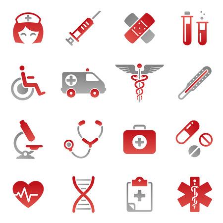 의료 테마 아이콘의 많은 설정 귀여운 아이콘 일러스트