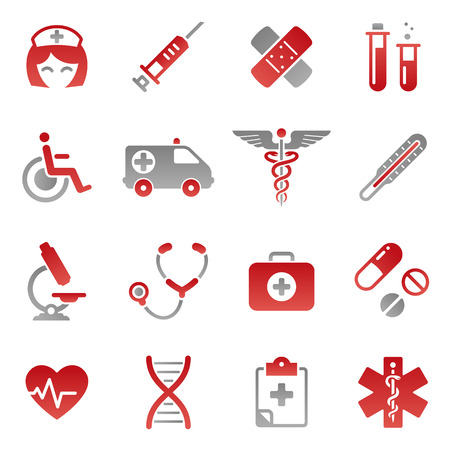 A cute icon set with lots of healthcare themed icons Stock Illustratie