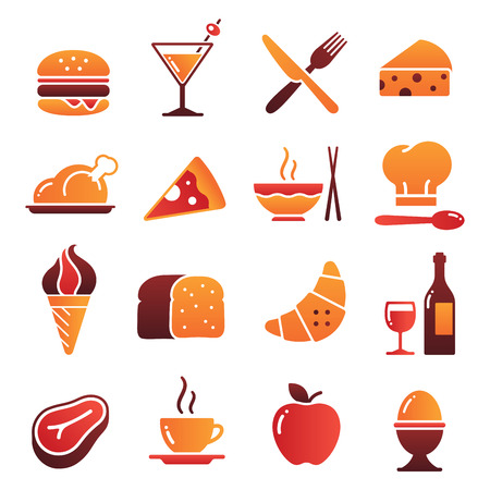 prepared fish: A collection of funny Icons regarding all type of foods and drinks Illustration