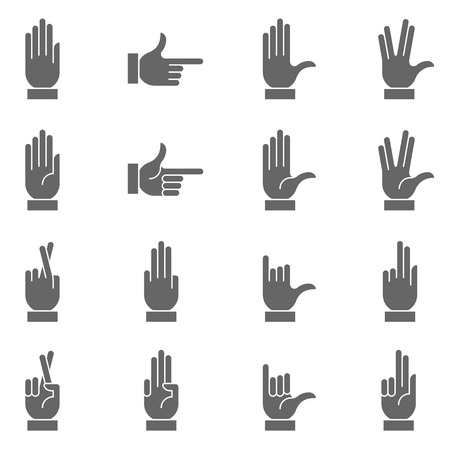 closed fist sign: A collection of hand signs, precise, with a modern and rounded style. Illustration
