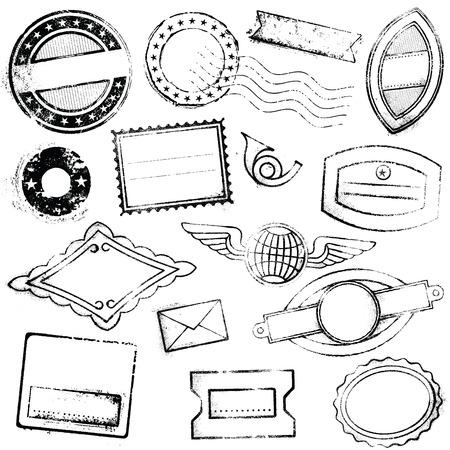 trompeta: Un gran detalle un conjunto de sellos genéricas y vacías adecuadas para diseños gráficos de viajes, correo, promociones y mucho más.