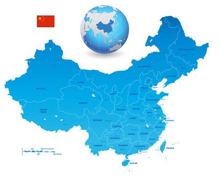 Een High Detail vector Kaart van de Volksrepubliek China's gekleurd met de vlag van China. De set bevat ook een 3D Vlag van China en een 3D Globe met China gemarkeerd. Alle elementen zijn gescheiden in bewerkbare lagen duidelijk gelabeld Stock Illustratie