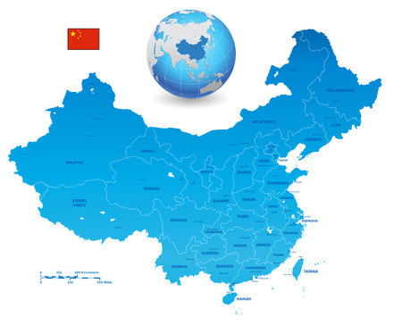 A High Detail vector Map of the Peoples Republic of Chinas colored with china flag. The set also contains a 3D Flag of China and a 3D Globe with China highlighted. All elements are separated in editable layers clearly labeled