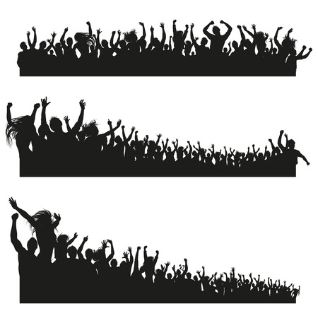 Three high Quality compositions of a mixed group of male and female young people silhouettes posing as a cheering crowd for a concert or sport event. Иллюстрация