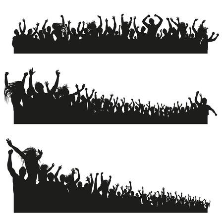 siluetas mujeres: Tres composiciones de alta calidad de un grupo mixto de jóvenes siluetas masculinas y femeninas se hacen pasar por una multitud para un concierto o evento deportivo. Vectores