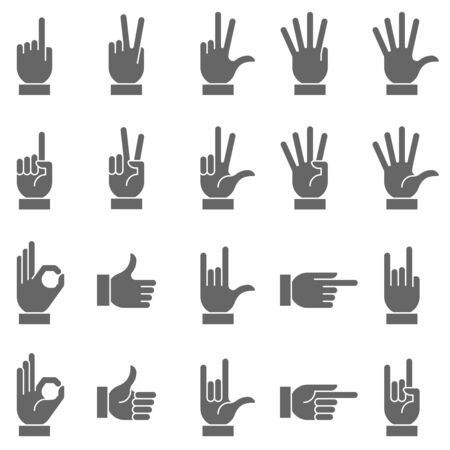 sign ok: A collection of hand signs, precise, with a modern and rounded style. Illustration