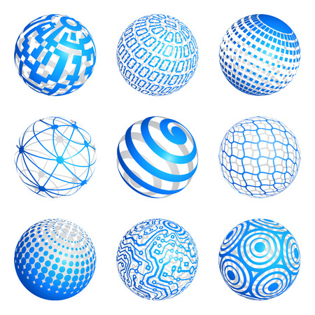 binary globe: A set of 9 3d Spheres vector illustrations with various graphical themes