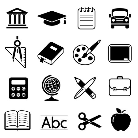 note pad and pen: A set of 16 School and Education cute icons Illustration