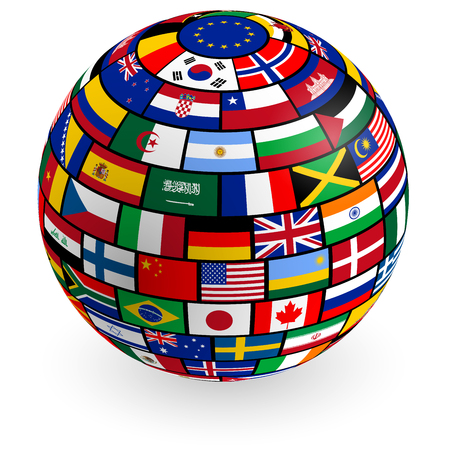 cuban flag: A vector 3D globe composed by the flags of the most important countries.