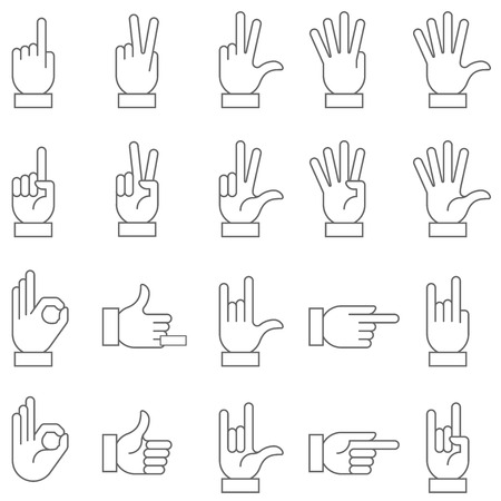 A collection of hand signs, precise, with a modern and rounded style. Illustration