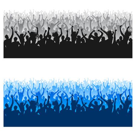 raised hand: High Quality composition of a mixed group of male and female young people silhouettes posing as a cheering crowd for a concert or sport event.